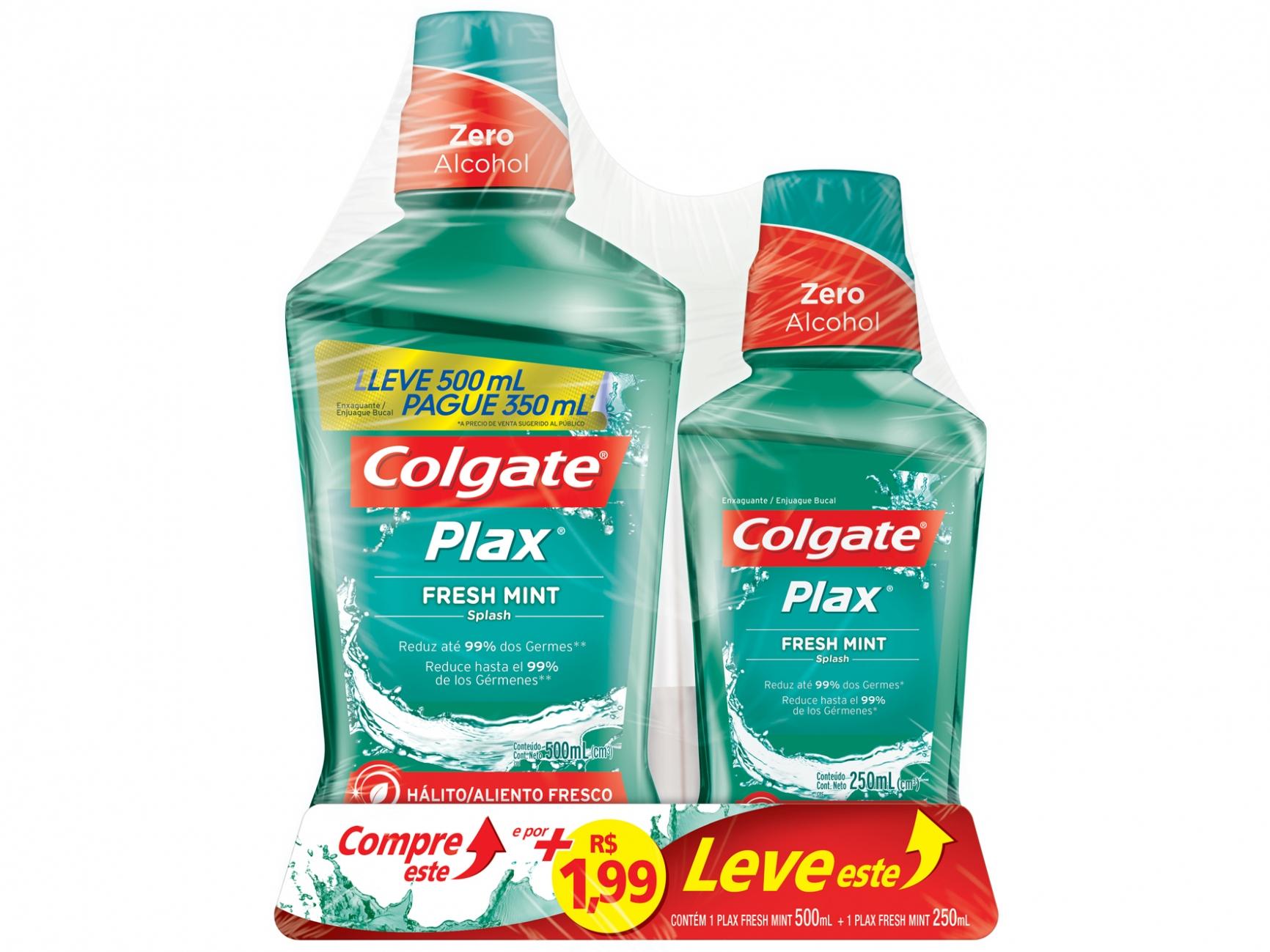 Antisséptico Colgate Plax  Fresh Mint (L500/P350ml+250ml)