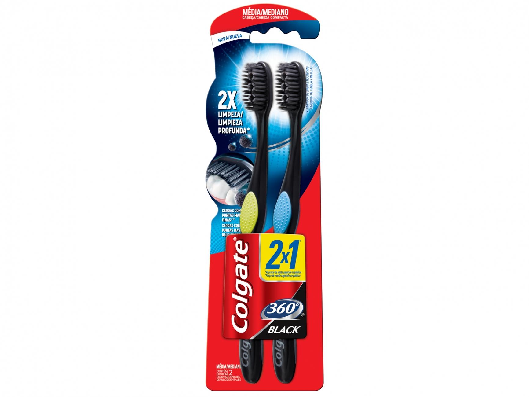Escova Dental Colgate 360 Graus Black 2X1 Média