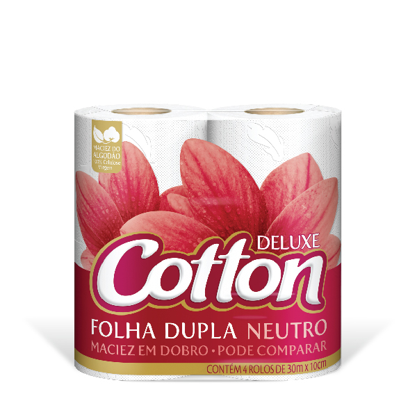 Papel Higiênico Cotton Folha Dupla 4X1 30MT Neutro