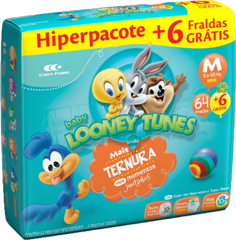 """Fralda Looney Tunes Hiper """"M"""" C/70"""