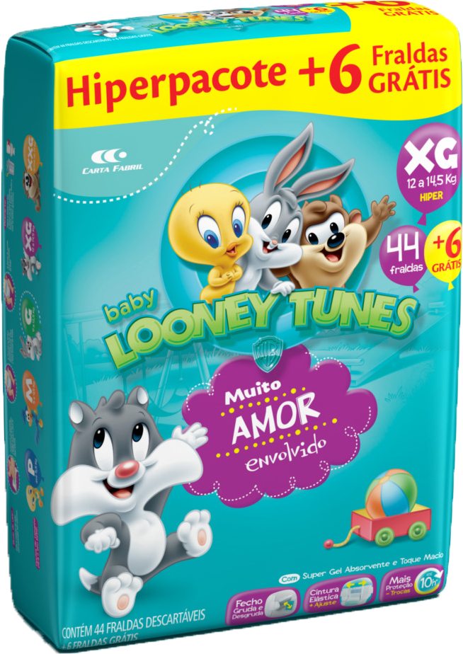 Fralda Looney Tunes Hiper XG C/ 50